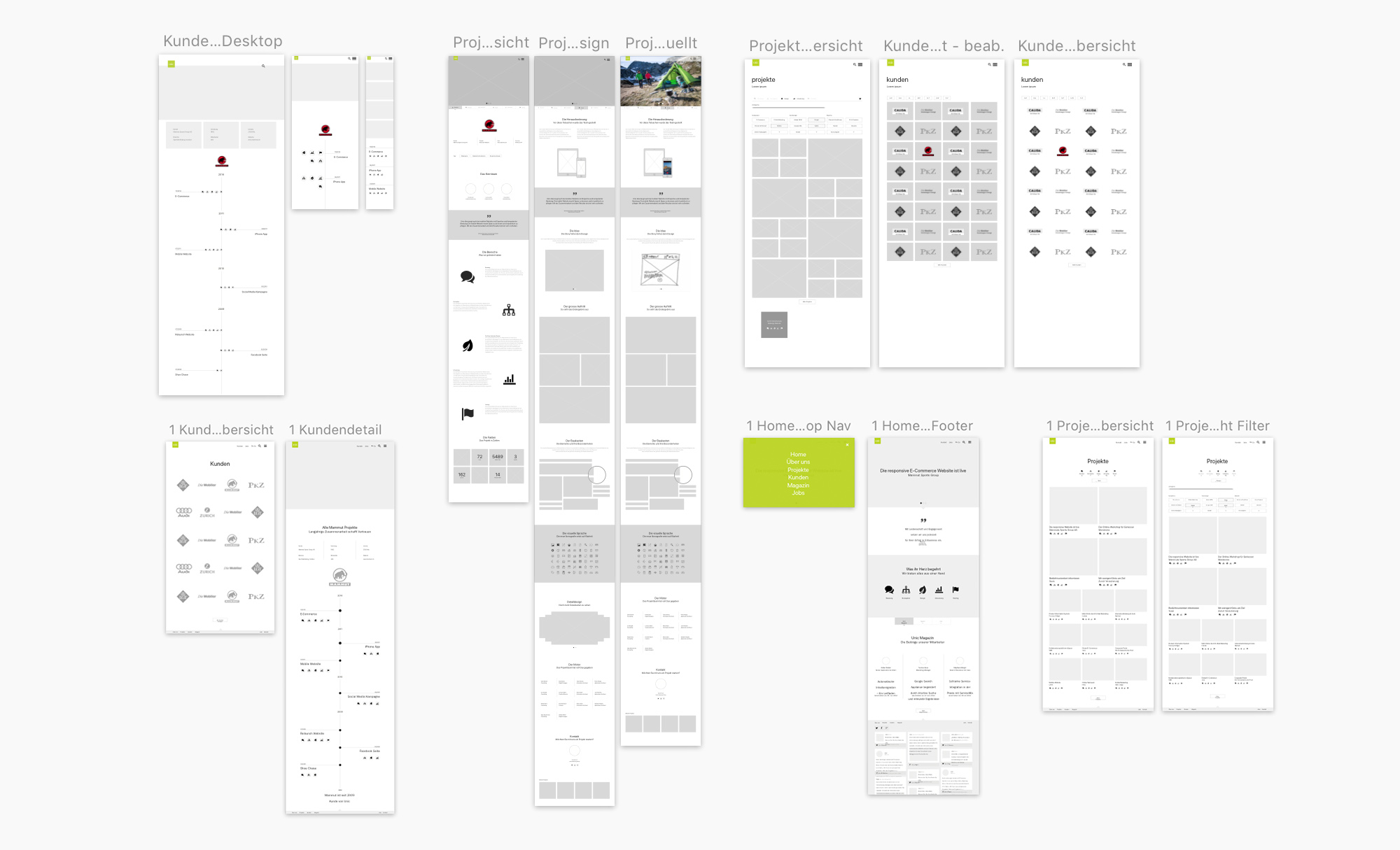 Projectpage_Unic_Standard_Wireframes_Overview